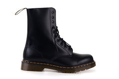 Black boots in side view Stock Photography
