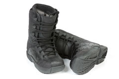 Black boots for snowboarding Stock Images