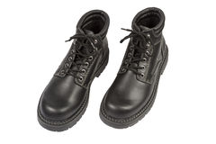 Black Boots on White Royalty Free Stock Photo