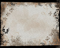 Black Border Floral Frame. Grunge style with texture Royalty Free Stock Image