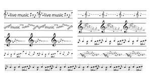 Black borders with music notes - vector seamless musical frames
