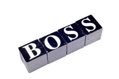 Black boss. Boss written on black and white blocks Stock Photo
