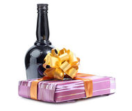 Black bottle and box Stock Photography