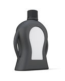 Black bottle of detergent with a blank label for your design. Stock Image