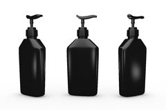 Black bottle with dispenser pump, clipping path included Royalty Free Stock Images