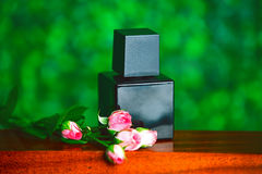 Black bottle of perfume Stock Photography