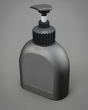 Black bottle with a pump on grey background. 3d rendering Stock Photography
