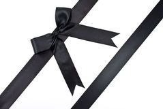 Black bow with ribbon