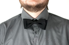 Black  bow-tie with gray shirt on men's neck. Royalty Free Stock Images