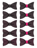 Black bow tie with pink dots set realistic vector illustration. Isolated on white background Stock Photography