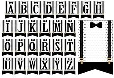 Black bow tie and suspenders. Set of white flags with polka dots. Little man banner. Vector alphabet letters for decoration party  baby shower boy, birth Stock Photos