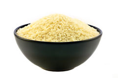 Black bowl with rice Stock Images