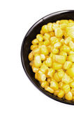 Black bowl of sweet corn marco Royalty Free Stock Image