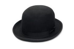 Black bowler hat. Stylish black bowler hat made of felt. Isolated on a white background royalty free stock image