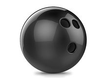 Black bowling ball. 3d render black bowling ball. Isolated on white background Royalty Free Stock Photography
