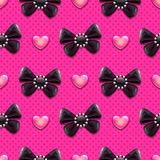 Black bows and hearts pattern Royalty Free Stock Images