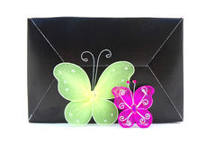 Black box with butterfly decorations Stock Image