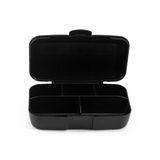 Black Box Capsules isolated on white. Background Stock Photo
