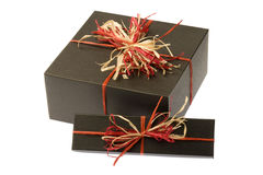 Black Box With Colorful Natural Bow. Isolated Stock Photos