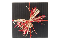 Black Box With Colorful Natural Bow. Isolated Royalty Free Stock Photography