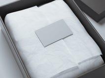 Black Box con el papel de embalaje y la tarjeta de visita representación 3d Fotos de archivo