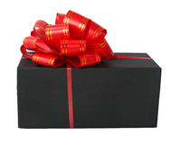 Black box with a red bow Stock Images