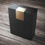 Black box with sticker Stock Photos