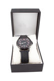 Black box with watch on white background. Black box with luxury watch on white background Stock Photos