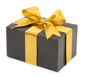 Black box with yellow bow isolated on white background. concept Royalty Free Stock Photos