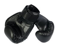 Black boxing-gloves. On the white background. (isolated Royalty Free Stock Image