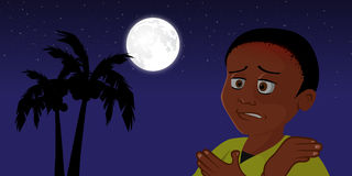 Black boy cold at night Royalty Free Stock Images