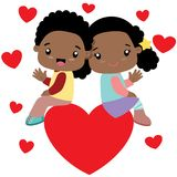 Black boy and black girl sitting on a big heart. Waving. Suitable for Valentines Day cards or other loving purposes. All elements are grouped together and can vector illustration