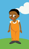 Black Boy overalls. Cartoon illustration of a Black Boy in overalls Royalty Free Stock Photo