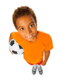Black boy with soccer ball view from above Royalty Free Stock Images