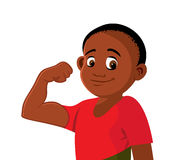Black boy strong flexing Royalty Free Stock Photo