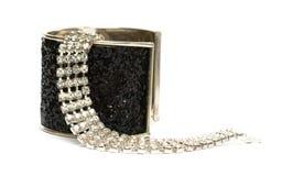Black bracelet with dimonds Royalty Free Stock Photos
