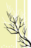 Black branch. Black silhouette of a branch of a tree on a striped light yellow background Stock Images