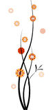 Twigs with Flowers. Black branches with red, orange and yellow flowers, isolated on a white background, vector illustration Royalty Free Stock Photo