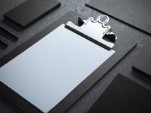 Black branding mockup with clipboard Stock Photo