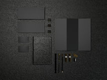 Black Branding MockUp High resolution. Black Branding MockUp on black leather High resolution Royalty Free Stock Image
