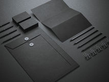 Black branding mockup. Isolated on dark background Royalty Free Stock Photos