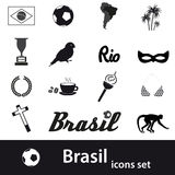 Black brazil icons and symbols set. Eps10 Royalty Free Stock Image