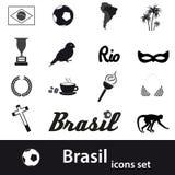 Black brazil icons and symbols set Royalty Free Stock Image