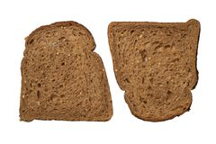 Black bread. Two pieces of black bread. Isolated objects on a white background Stock Image