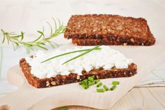Black bread with cottage cheese. Stock Photos