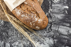 Black bread with ears of wheat Stock Photos