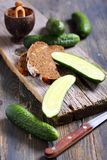Black bread and fresh cucumbers. Stock Photography