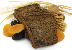 Black bread with fruit Stock Photos