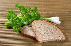 Black bread with green onions Royalty Free Stock Photo