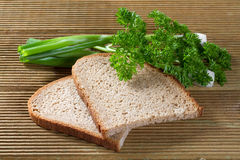 Black bread with green onions Royalty Free Stock Photography